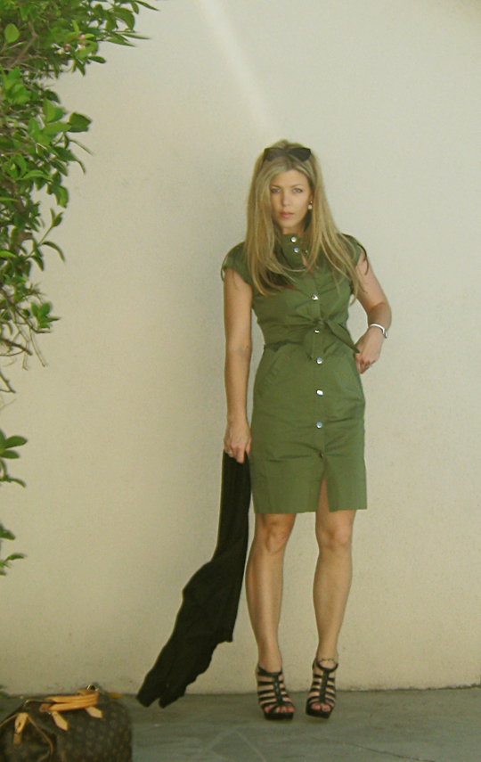 marc by marc jacobs army green shirt dress