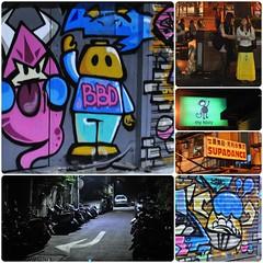 BBD, my kozy & SUPADANCE (Danburg Murmur) Tags: car geotagged graffiti monkey streetlight automobile streetlamp mosaic parking taiwan motorcycles skirt signage pedestrians taipei arrow   garbagebin bbd trashbag supadance scootes mykozy geo:lat=25036181 geo:lon=121558142