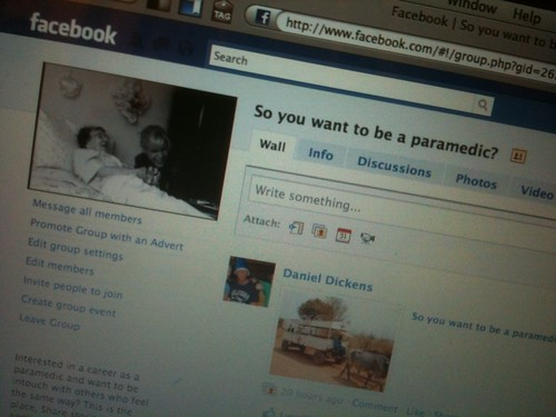 Screenshot of 'So you want to be a Paramedic?' Facebook group