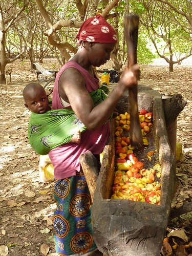 Cashew fruit crushing