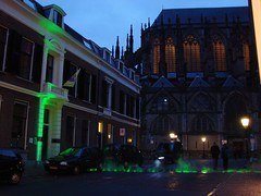 Roman Walls [Day 126/365] (indigo_jones) Tags: light people holland green history cars netherlands architecture buildings lights utrecht cathedral roman dusk gothic nederland walls fortress markers domplein apse project365 trajectumlumen project3652010