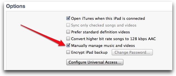 Manually manage in iTunes
