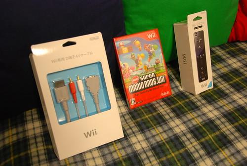 Wii D端子AVケーブル / ニュー・スーパーマリオブラザーズ・Wii / Wiiリモコン(黒)