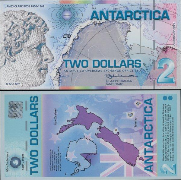 2 Doláre Antarktída 30.07.2007 polymer