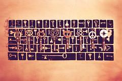 Key Board (Jessica Tai [[AnywhereButHome21]]) Tags: shirt sepia print keys keyboard skeletonkeys