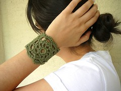 Army Green Lace Wristband by Afra (atolye afra) Tags: summer fashion spring women jewelry cotton button bracelet accessories cuff fiber motherofpearl crcochet