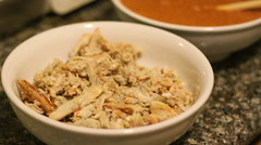 Making Bun Rieu - Crab Meat Noodle Soup: blue crab meat