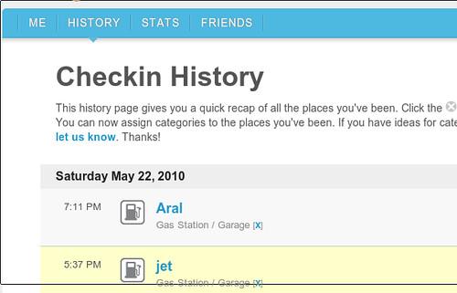 Foursquare: my history