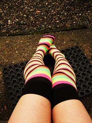 "11 ""Everyday is so wonderful, then suddely it's hard to breathe..."" (Bon The Mighty Bon) Tags: portrait selfportrait feet wet rain socks legs front step bonnie 365 stripey awkward doormat gravel"