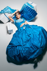 oops! (markpaulandrews) Tags: blue wedding portrait woman girl beautiful beauty fashion hair asian model glamour artist dress turquoise makeup presents boxes couture styling jewellry markpaulandrews
