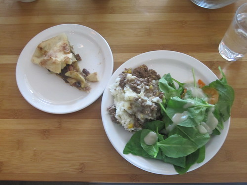 Pâté chinois, salad, apple-pecan-raisin pie from the bistro - $6