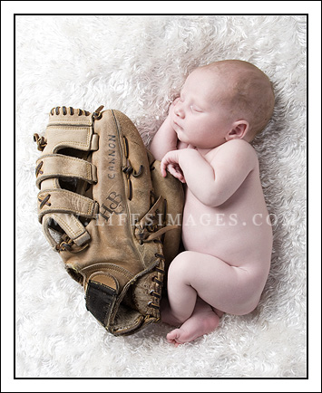 newborn portrait baseball