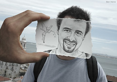 Pencil Vs Camera - 25 (Ben Heine) Tags: ocean sea portrait sky mer man art love face composition mouth lens landscape nose photography freedom fly seaside eyes focus dof hand friendship cloudy horizon creative tinkerbell yeux traveller fairy ciel illusion libert series layers summertime vs conceptual sourire homme couches appareil waltdisney sbastien luminosity d70nikon smle sacdos bouc aventurier feclochette photo mywinners benheine expressiveportrait theunforgettablepictures drawingvsphotography flickrunited crayon infotheartisterycom pencilvscamera imaginationvsreality whaticallart