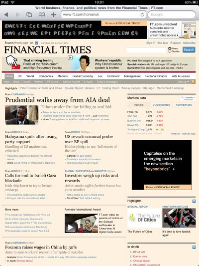 FT on iPad browser