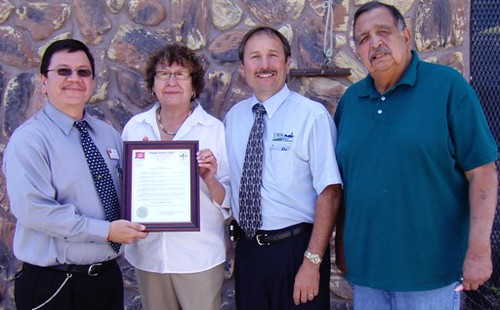 South Dakota Homeownership Month Observance:  left to right:  Kevin Yellow Bird Steele – OST President's Office representative; Pinky Clifford – Oglala Sioux Tribe Partnership for Housing; USDA Rural Development Area Director Tim Potts; and Paul Iron Cloud – Oglala Lakota Housing Authority.