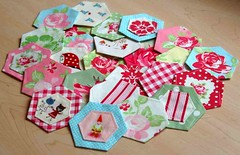 On their way home Hexie Partner! (.House. of A La Mode) Tags: red japanese aqua fabric hexagon lime darla munkimunki hexie