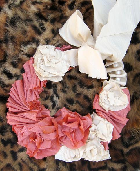 Silk Flower Necklace DIY -on leopard print