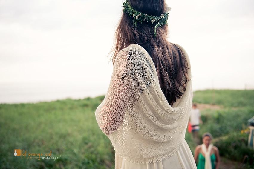 Jill and her handknit wedding shawl