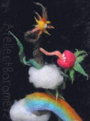 A part of the Sheep Hill  17/19:Rutger wants eat sun! (borometz) Tags: color art wool monster pumpkin toy rainbow sheep vampire bat craft felt plush fantasy needlefelting legend  mythology myth handcraft   needlefelted             atelierborometz       in