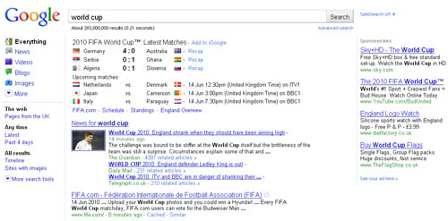 Google World Cup SERP