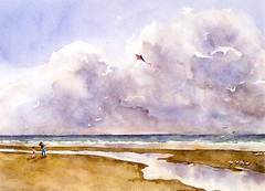 Art: Watercolour:...together in Blankenberghe, Belgium (1997) (Nadia Minic) Tags: ocean sky mer seascape beach strand meer aquarelle himmel wolken ciel watercolour luxembourg nuages enfant plage drachen cerfvolant aquarell lenningen nadiaminic nadiaart