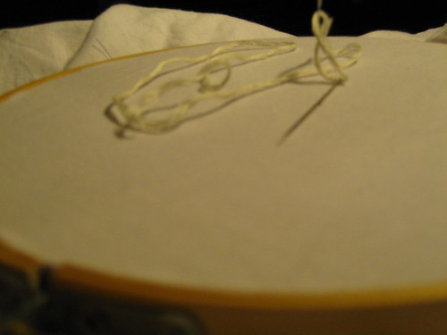 Needle, floss, linen, and hoop