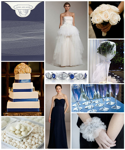Navy and Ivory Tulle Wedding