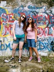 Cool kids. (heatherm815) Tags: summer water sunglasses wall kids graffiti moss bottle cool ray julie random tags hike nike adventure shannon converse vandalism matching ya hooligans pretending bans