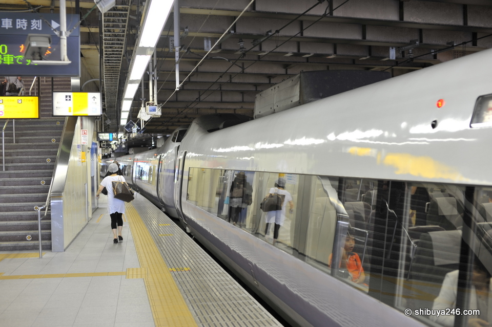 The trains in Japan always look nice and clean. Most people were already on board with bento's in hand.