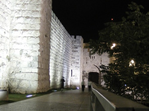 Jaffa Gate at night.