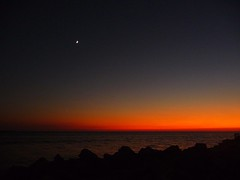 Curtain Call (seddeg ~) Tags: sunset moon gulfofmexico water twilight lowlight florida jetty coastal tropical grainy crescentmoon stpetebeach curtaincall passagrillebeach p1150863323