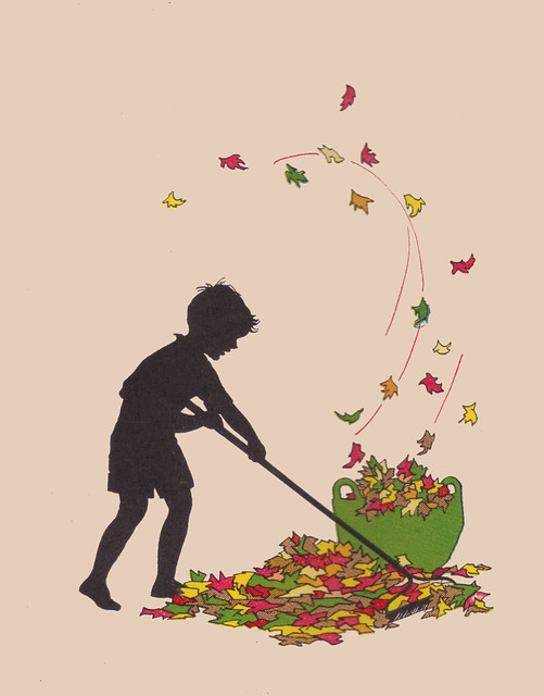 Health Stories Book Two raking leaves