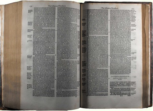 Double page opening showing the beginning of the story of Macbeth in the copy of 'Holinshed's Chronicles' held by University of Glasgow Library Special Collections.