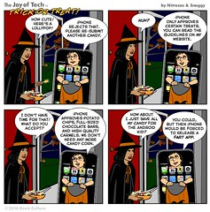 iPhone Trick or Treat (Photo Giddy) Tags: halloween comics mac ipod humor applestore iphone ipad iphonehalloweencostumestevejobs
