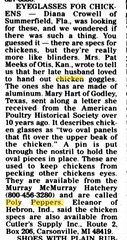 Chicken sunglasses 1999 Jan 13 Catoosa County News Ringold GA (carlylehold) Tags: red opportunity chickens chicken robert 1955 sunglasses by museum death glasses fight blood village photos whats ky tag unity goggles band bob jr andrew jackson line wear mo stop national missouri newport join 1950s patents co summit historical unusual ruby eyeglasses anti society spectacles lees cannibalism 1903 blinders peculiar keeper wore patent harwood pecking haefner leghorns carlylehold antipix bobchaefner