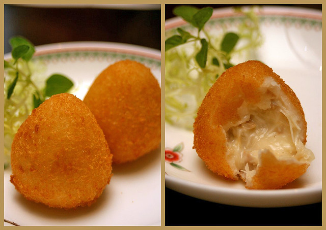 Deep-fried potato dumplings stuffed with cheese crabmeat and onions