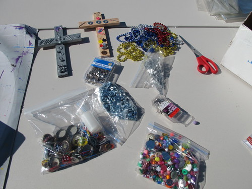 Setting up for the recycled cross craft