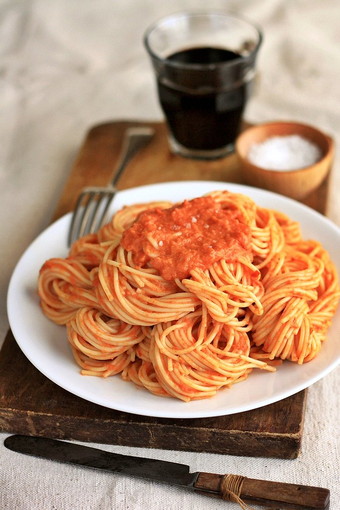 Spaghetti with Tomato Vodka Cream Sauce