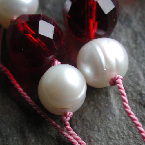 Freshwater Pearl and Burgundy Glass Knotted Necklace