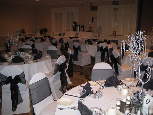 New Years Eve Black & White Wedding centerpieces