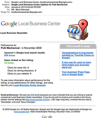 Desorden de Google Local Business Center