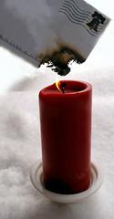 Burn After Reading  -  Avia Venefica (Avia Venefica) Tags: red white snow candle post mail smoke stamp burning flame burn letter candlelight postage postmark scorch burnedpaper burnafterreading burningletter burnedmail