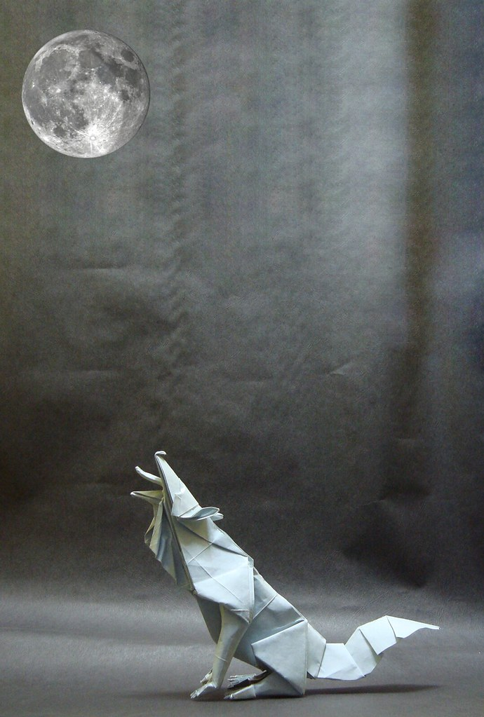 Gray Wolf By Quentin Trollip Tags Moon Paper Origami