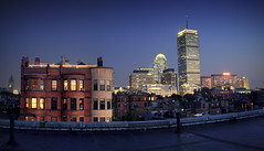 Boston Back Bay from a Roof Deck (Werner Kunz) Tags: life city longexposure cambridge sunset sky urban panorama usa building tower boston skyline architecture night america photoshop shopping ma lights town iso200 us nikon downtown stitch dusk massachusetts skylight newengland wideangle shutter bluehour dri prudential hdr backbay hdri beantown metropole 18mm skyscrapper f35 colorcontrast photomatix 1sec explored colorefex nikond90 glamourglow topazadjust werkunz1 23exhdrpanorama