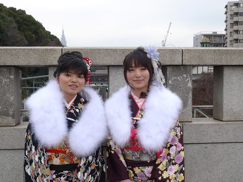 Young women in kimono on COMING-OF-AGE DAY