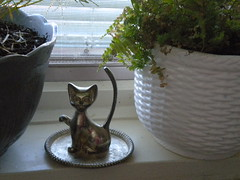 Vintage cat ring holder (geekdetails) Tags: fern planter pewter chalkbaord