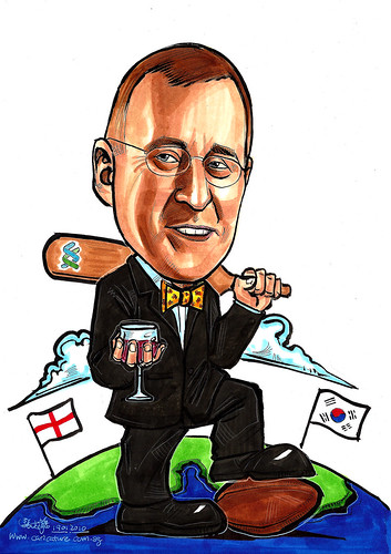 Caricature for Standard Chartered Bank cricket rugby and red wine