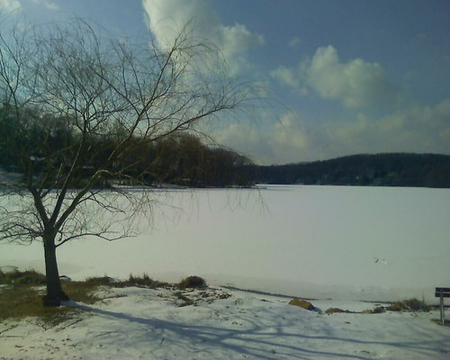 Snowy evidence of this morning's weather at White Meadow Lake, NJ.