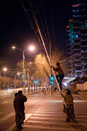 Cable repairs at night