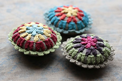 (namolio) Tags: blue red green handmade sewing crochet cupcake pincushion crocheted
